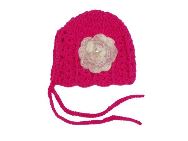 Χειροποίητο σκουφάκι μπε-μπε φουξ με εκρού-ροζ λουλούδι 1