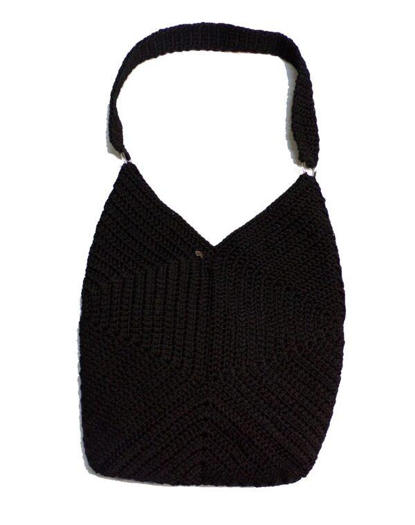Χειροποίητη πλεκτή τσάντα ώμου μαύρη 1