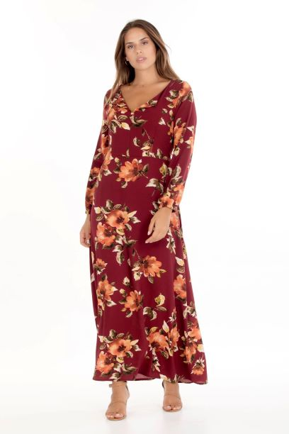 Φόρεμα Εμπριμέ μπορντώ 1