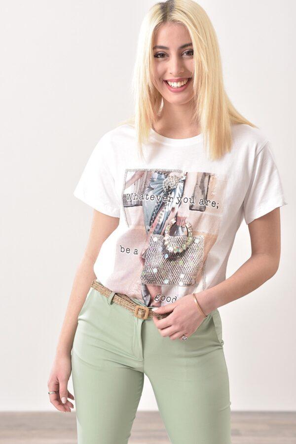 Μπλούζα κοντό μανίκι με τύπωμα σε λευκό χρώμα 1