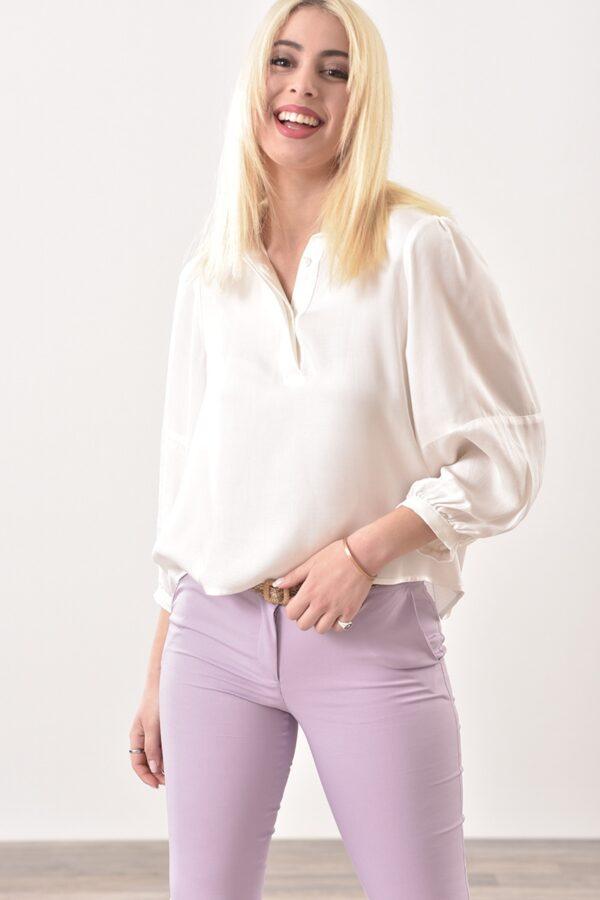 Μπλούζα με φουσκωτό μανίκι 3/4 σε λευκό χρώμα 1