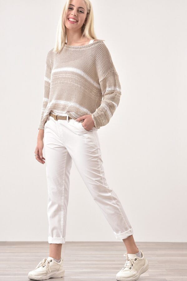 Παντελόνι βαμβακερό με τσέπες σε λευκό χρώμα 1