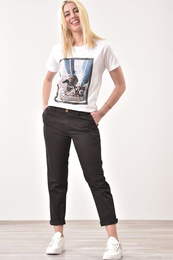 Παντελόνι βαμβακερό με τσέπες σε μαύρο χρώμα 1