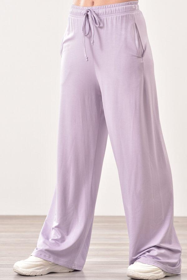 Παντελόνι φόρμας μακό με τσέπες λιλά 1