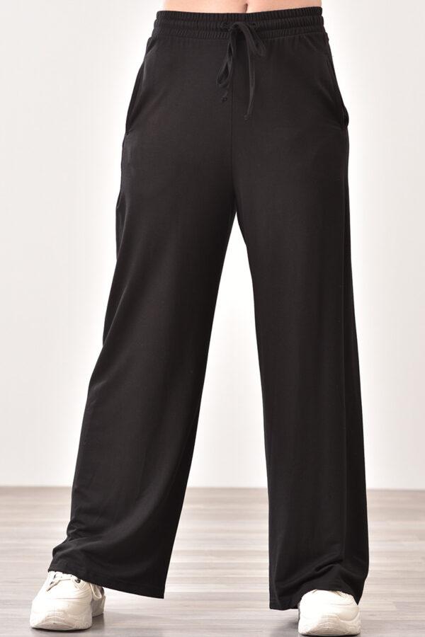 Παντελόνι φόρμας μακό με τσέπες μαύρο 1