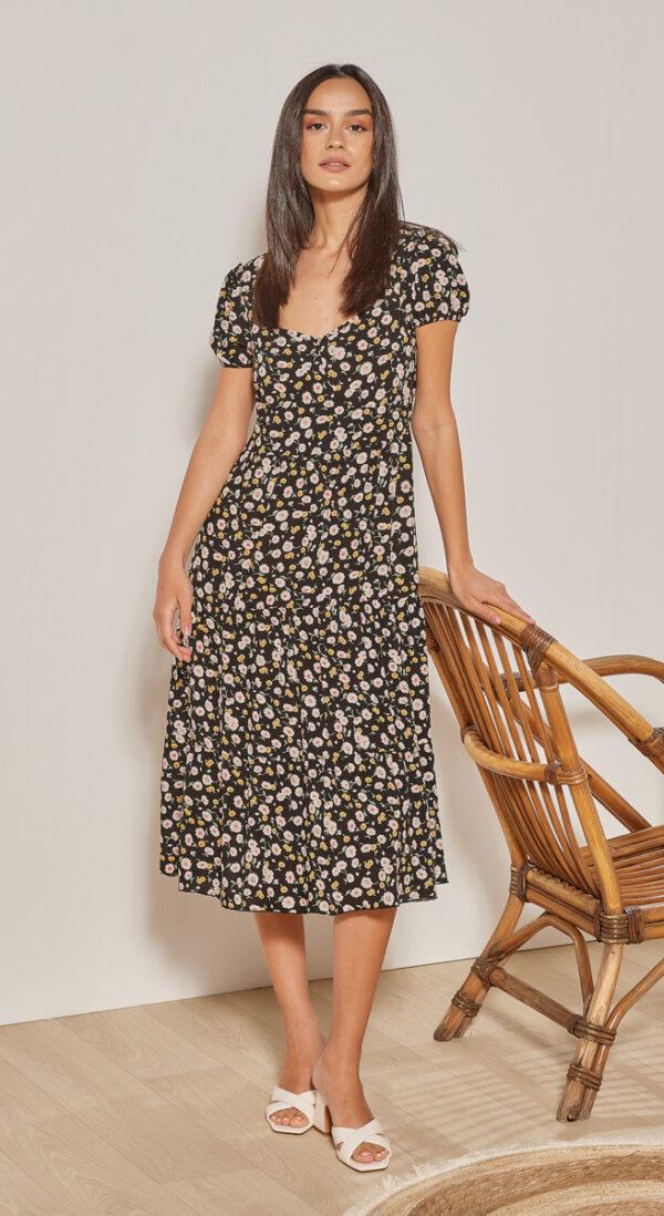 Φόρεμα midi με βολάν- Εμπριμέ μαύρο 1