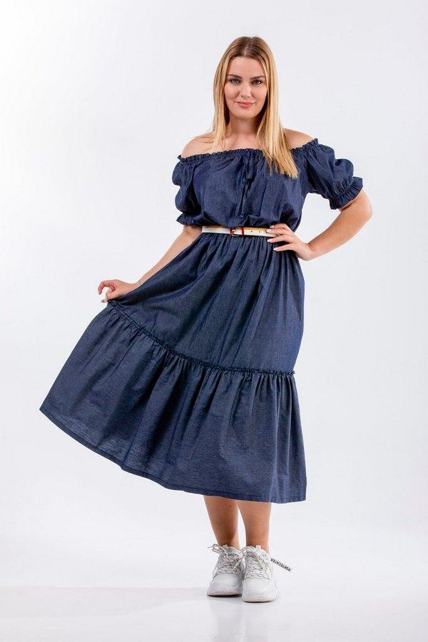 Φόρεμα τζην midi τσιγγάνικο plus size 1