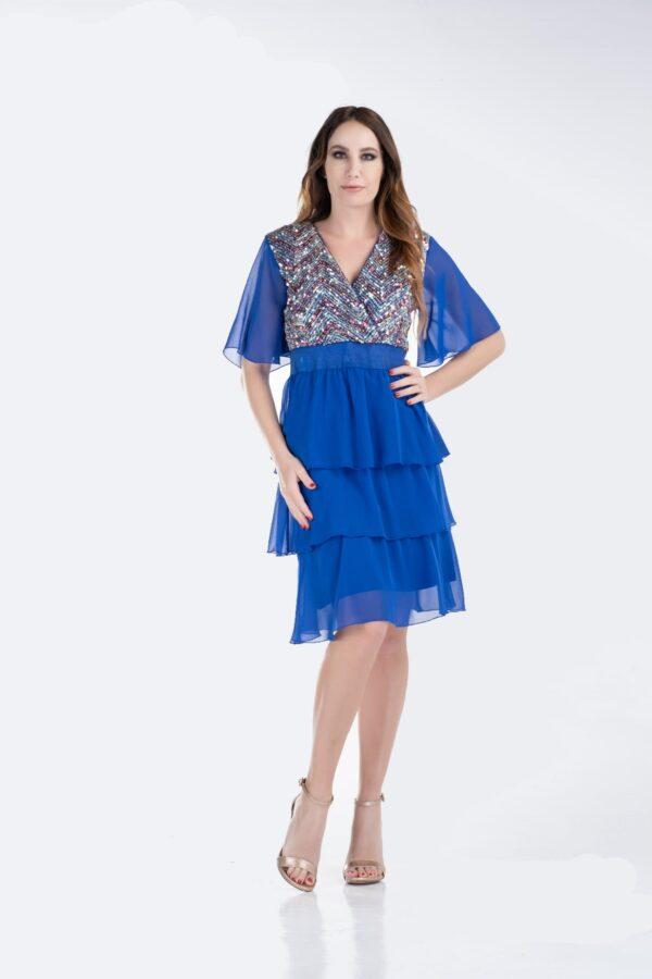 Φόρεμα με βολάν και παγιέτα ρουά 1