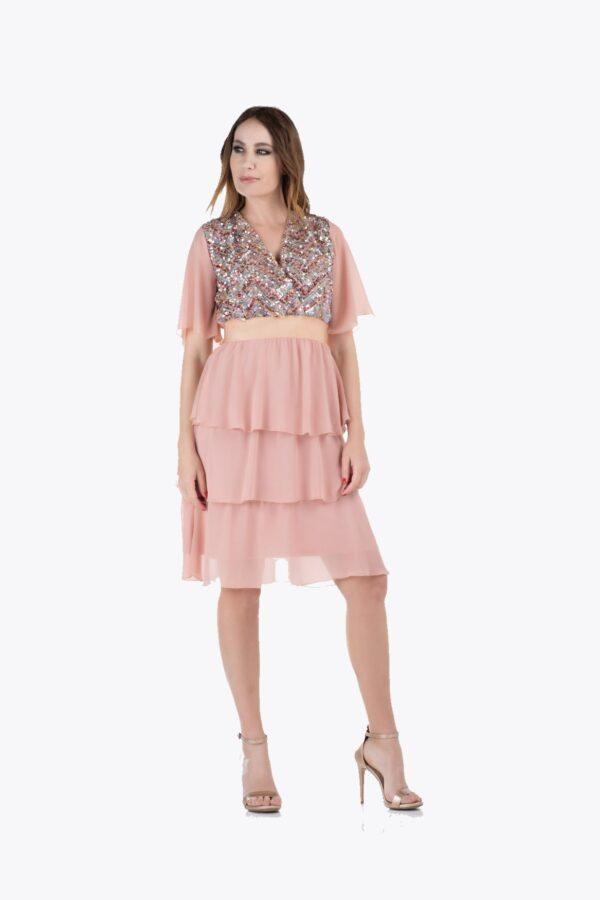 Φόρεμα με βολάν και παγιέτα σομόν 1