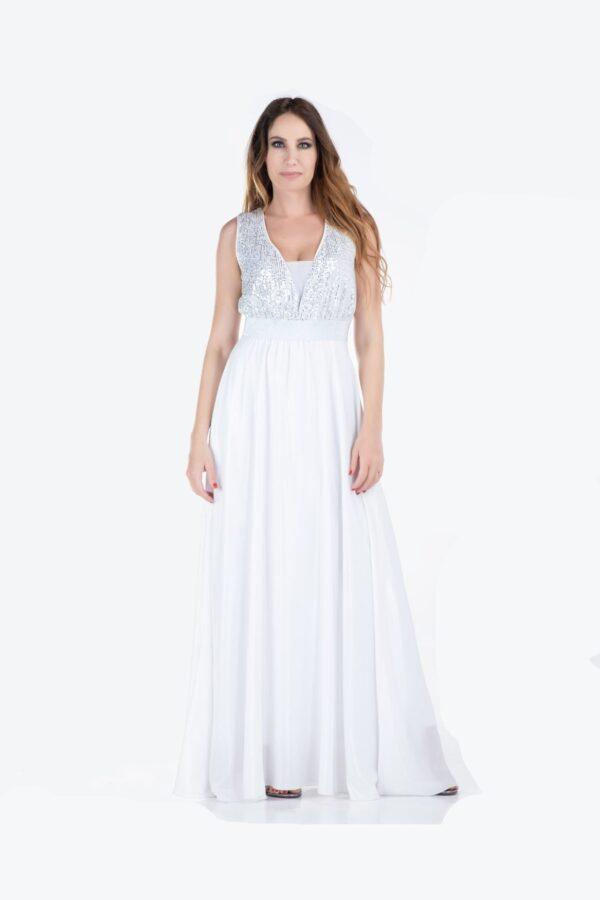 Maxi φόρεμα μουσελίνα με παγιέτα 1