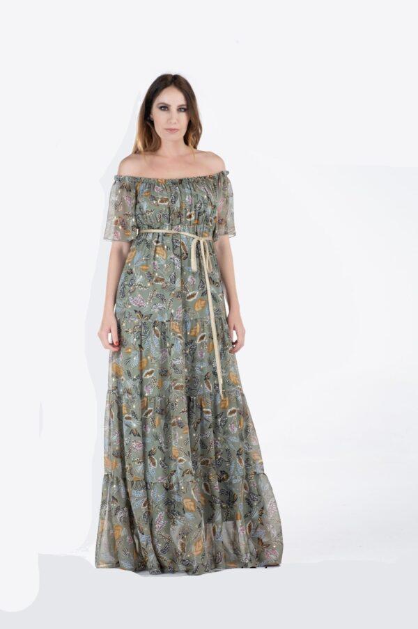 Maxi φόρεμα χακί 1