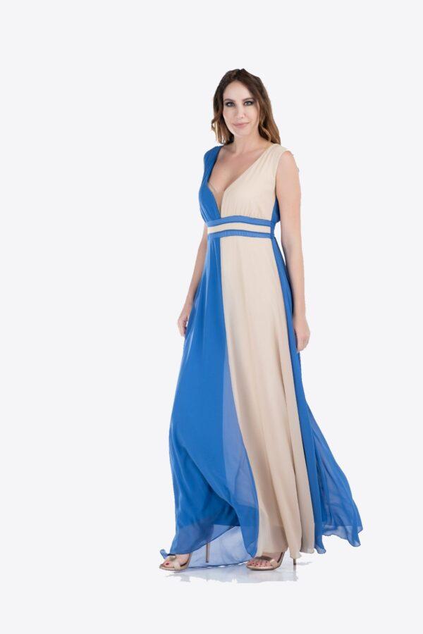 Maxi φόρεμα δίχρωμο 1