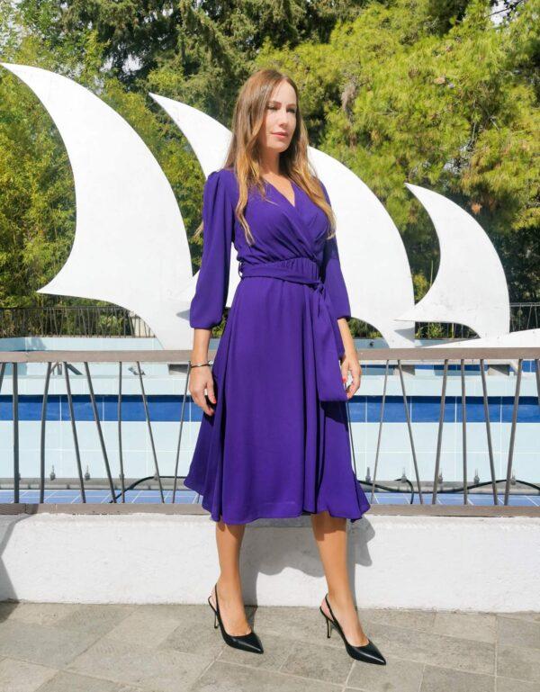 Midi φόρεμα κρουαζέ λιλά 1