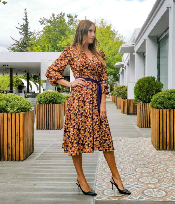 Midi φόρεμα κρουαζέ σατέν 1